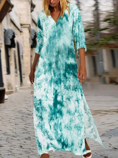 V Neck Shift Ombre/tie-Dye Half Sleeve Dresses