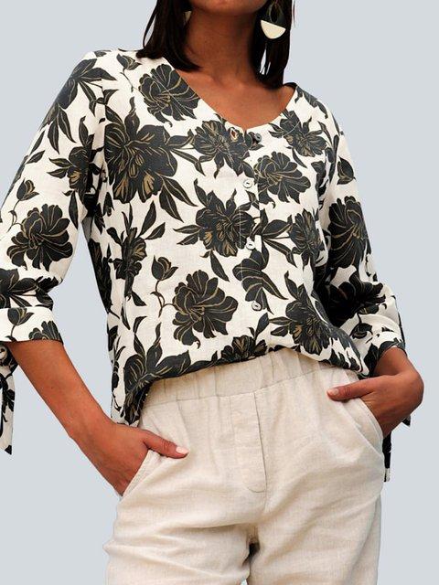 White Half Sleeve Shift Floral V Neck Shirts & Tops