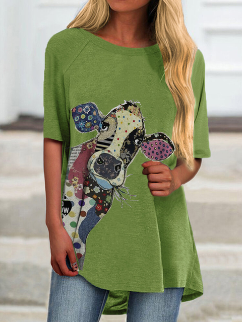 Green Casual Knitted Crew Neck Animal Shirts & Tops