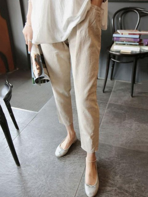 Solid Casual Pocket Pants