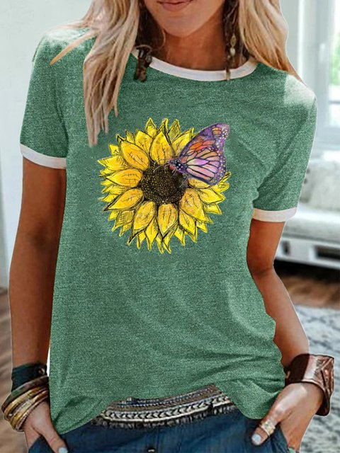 Green Floral Crew Neck Cotton Casual Shirts & Tops