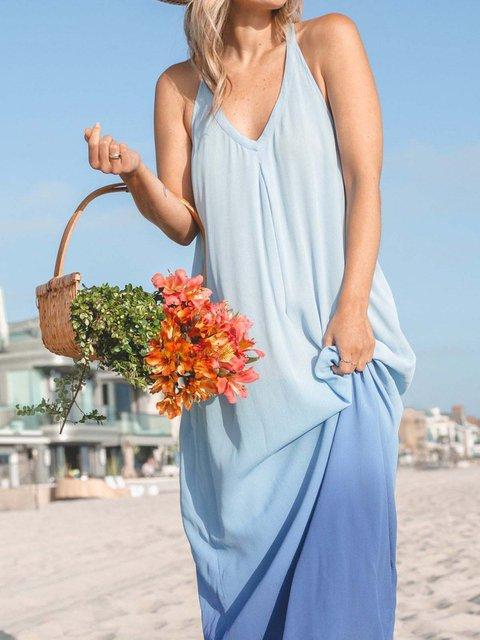 Women  Dip-Dye Pockets Sleeveless Maxi Dresses