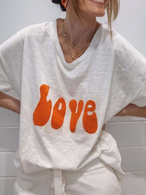 Women Love Letter Print Summer Casual Tees