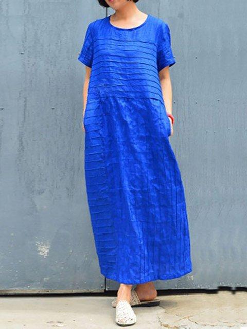 Casual Pintucked Cotton Linen Tunic Dress