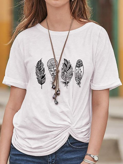 Casual Round Neck Short Sleeve Print T-Shirt