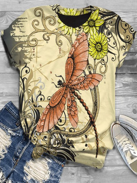 Vintage Short Sleeve Dragonfly Floral Printed Crew Neck Plus Size Casual Tops
