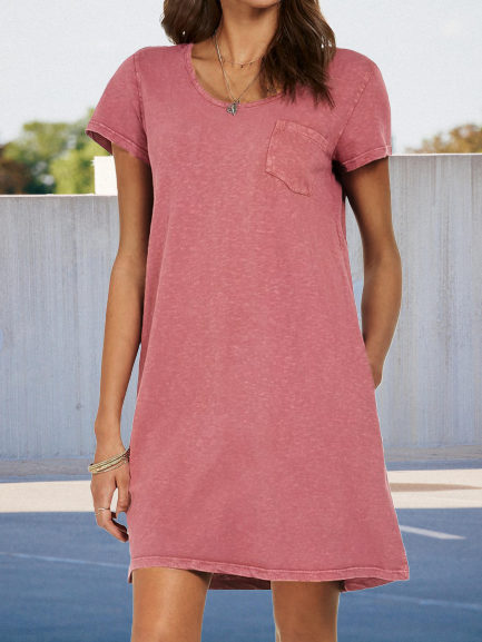 Pink Crew Neck Casual Knitted Dresses