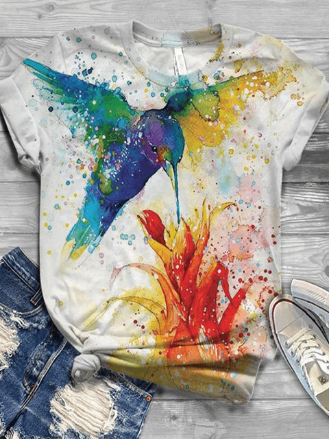 Plus Size Floral Cotton-Blend Short Sleeve Shirts & Tops