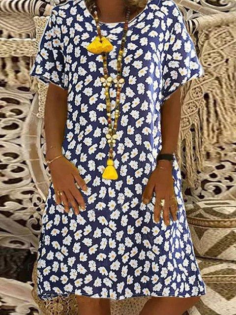 Blue Floral-Print Short Sleeve Dresses