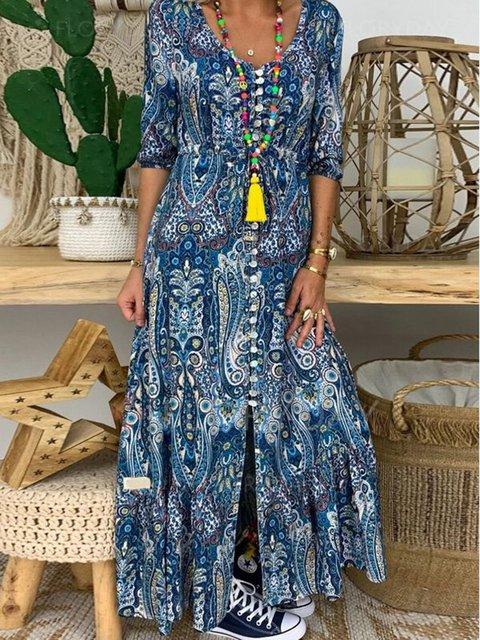 Blue Short Sleeve Cotton-Blend Floral-Print Crew Neck Dresses