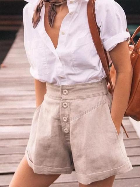 Plus size Vintage Solid Shorts