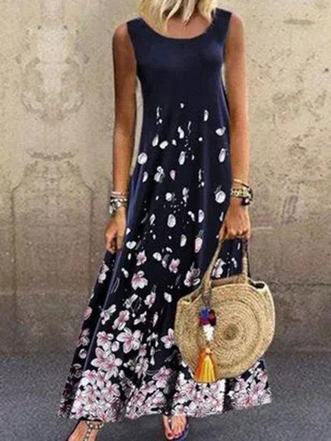 Navy Blue Crew Neck Cotton-Blend Holiday Dresses