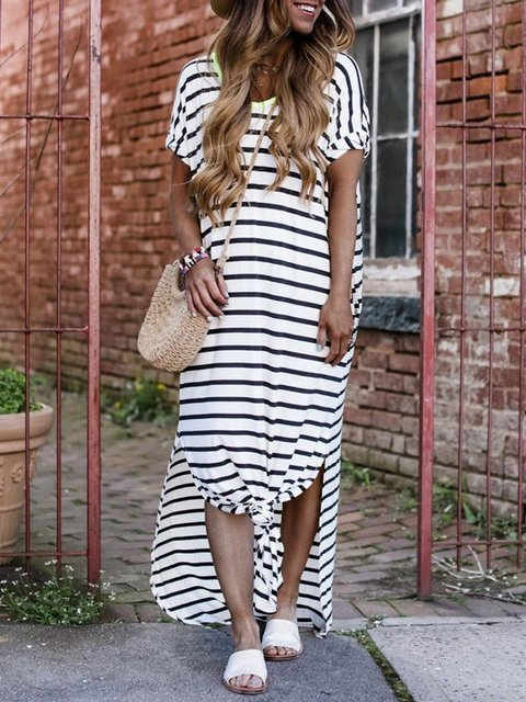 Striped Short Sleeve Round Neck Maxi Dress