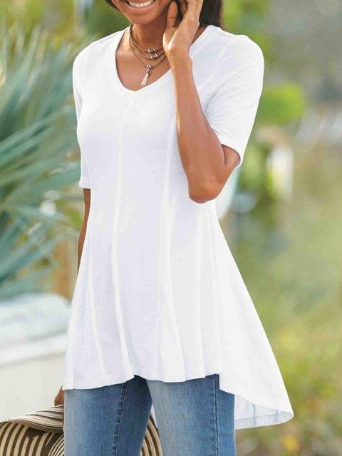 Women Summer Solid Tee Short Sleeve Shirts