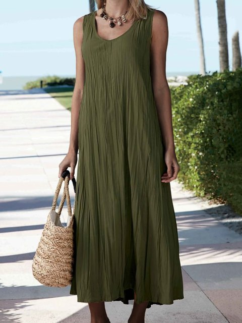 Sleeveless Solid Maxi Dress Summer Plus Size Crew Neck Dresses