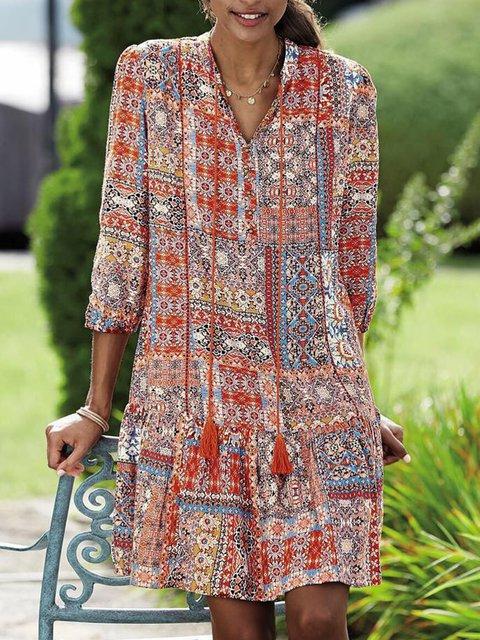 Floral Mini Dress Women Plus Size 3/4 Sleeve Dresses