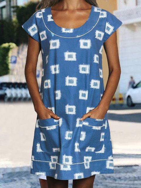 Summer Pockets Mini Dress Plus Size Short Sleeve Dresses