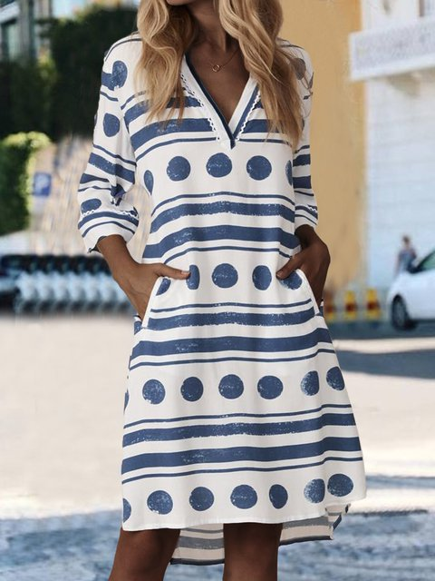 Pockets Polka Dots Mini Dress Plus Size Dresses