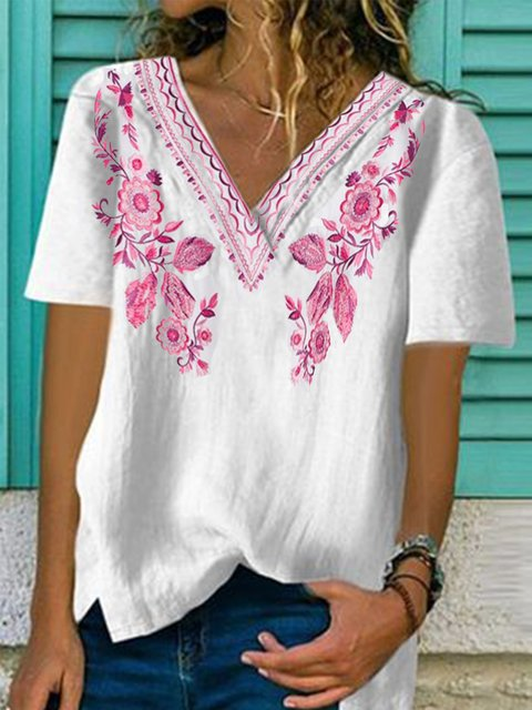 Vintage Casual Plus Size Printed Short Sleeve Shirts Tops