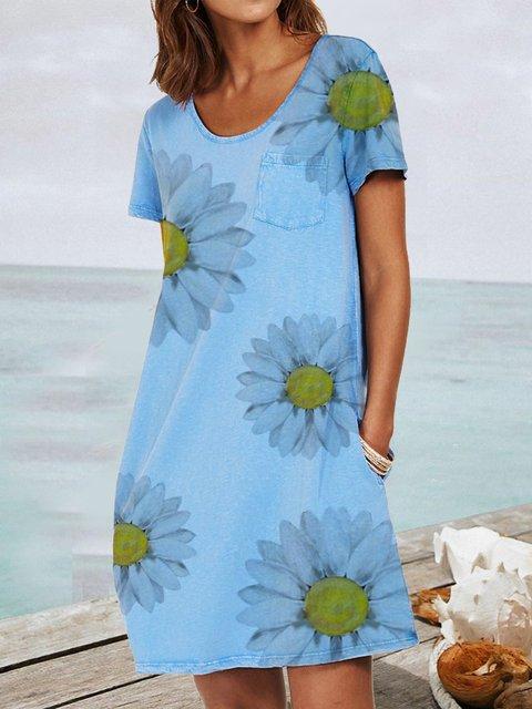 Blue Short Sleeve Floral Dresses