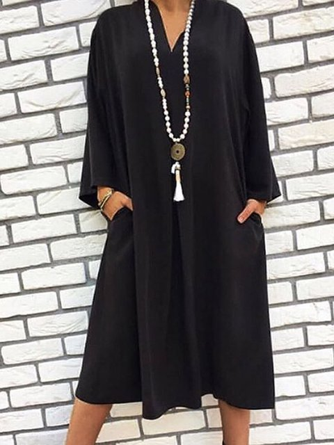 Pockets Solid Midi Dress Plus Size Long Sleeve Dresses