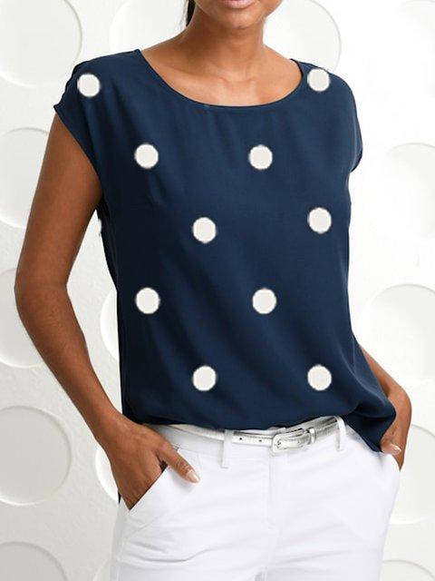 Navy Blue Casual Polka Dots Single Sleeve Shirts & Tops