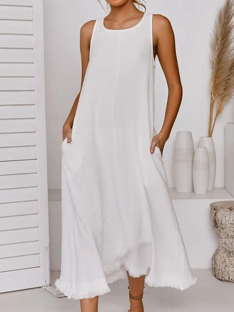 Sleeveless Tassel Hem Elegant Midi Dress