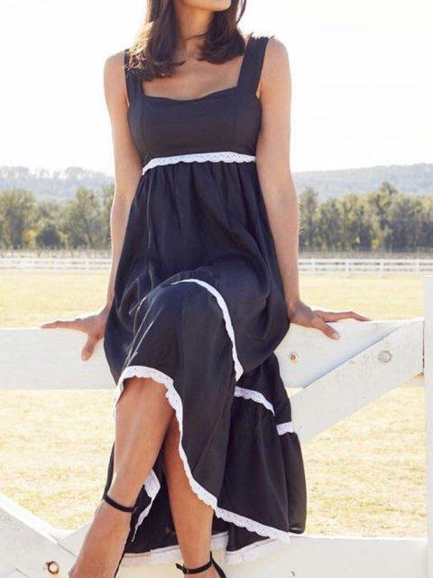 Summer Spaghetti Maxi Dress Plus Size Solid Paneled Dresses