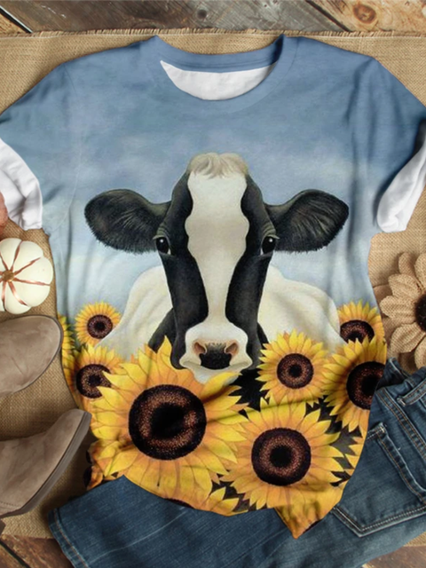 Casual Crew Neck Printed Shirts & Tops