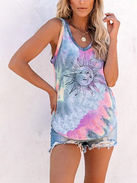 Sleeveless Ombre/tie-Dye Shirts & Tops