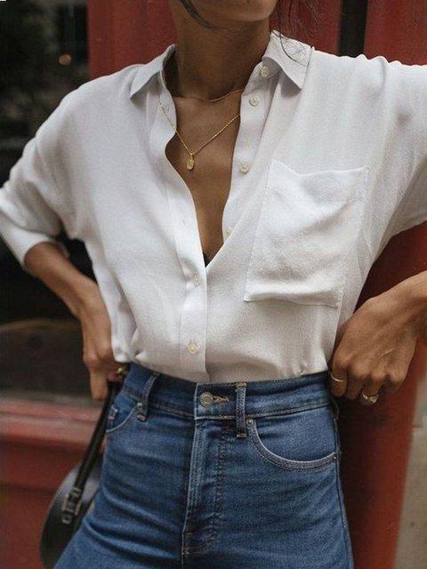 White Shirt Collar Long Sleeve Plain Shirts & Tops