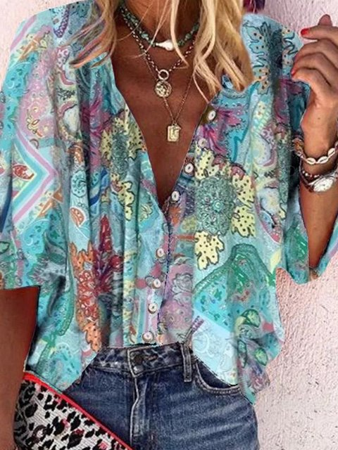 Cotton-Blend V Neck Casual Half Sleeve Shirts & Tops