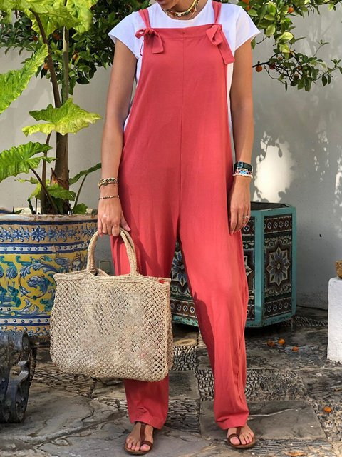 Women Sleeveless Shift Solid Casual Jumpsuits