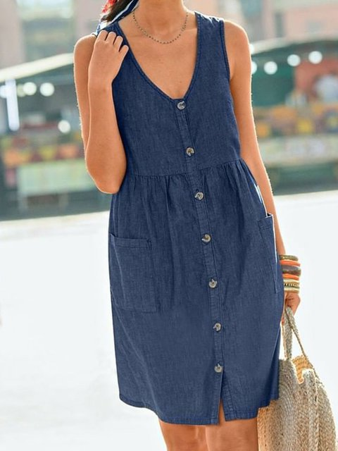 Women Pockets Buttoned V-Neck Casual Dresses