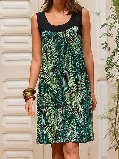 Women Leaves Pattern Paneled Sleeveless Casual Dresses