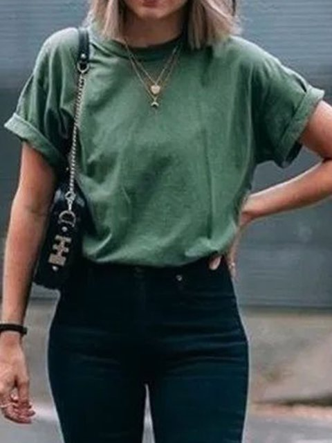 Olive Green Short Sleeve Crew Neck Shirts & Tops