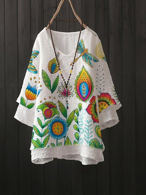 White Floral Pastoral Cotton-Blend Shirts & Tops