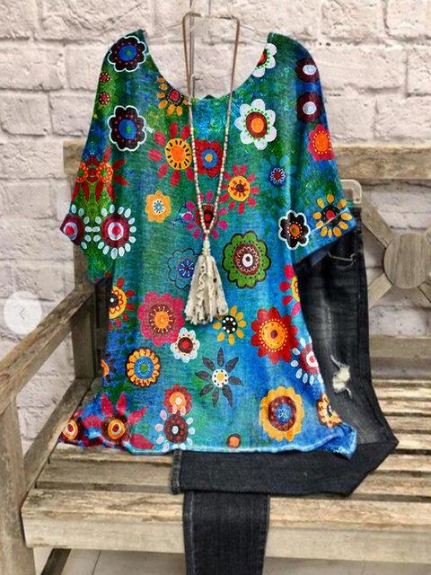 Blue Casual Floral Cotton-Blend Shirts & Tops