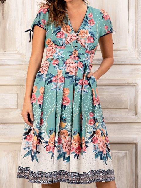 Women Pockets Floral Printed Short Sleeve Dresses