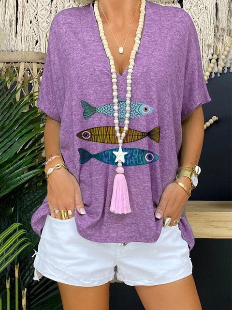 Fish Printed V-neck Short Sleeve T-shirt