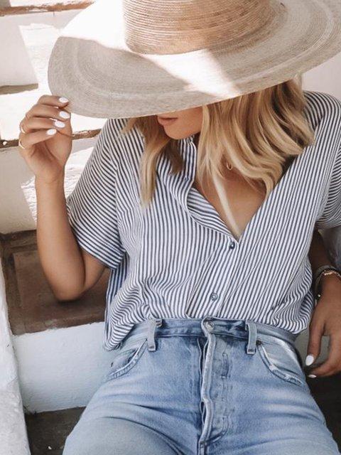 Blue Striped Cotton-Blend V Neck Short Sleeve Shirts & Tops