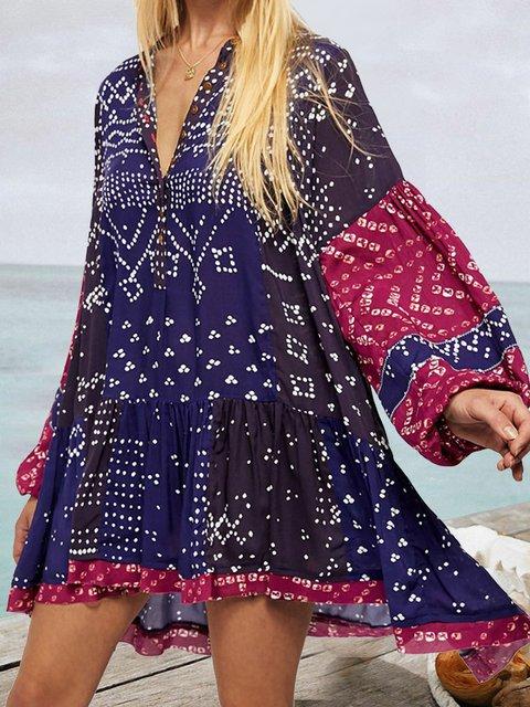 Blue V Neck A-Line Casual Dresses