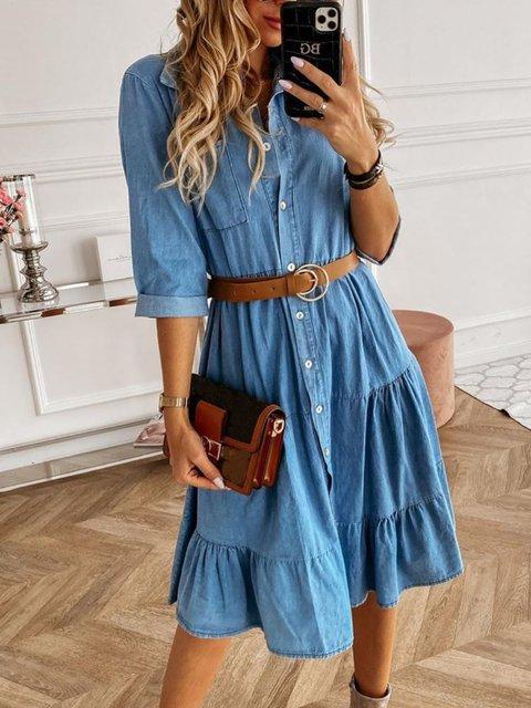 Blue V Neck  3/4 Sleeve Simple Dresses