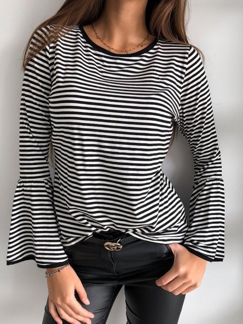 Striped  Long Sleeve Tee Women Plus Size T Shirts
