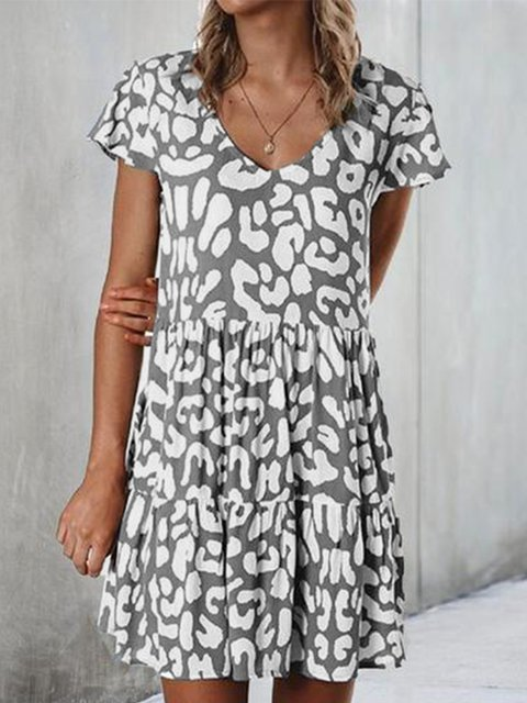 Round Neck Short Sleeve Cotton-Blend Dresses