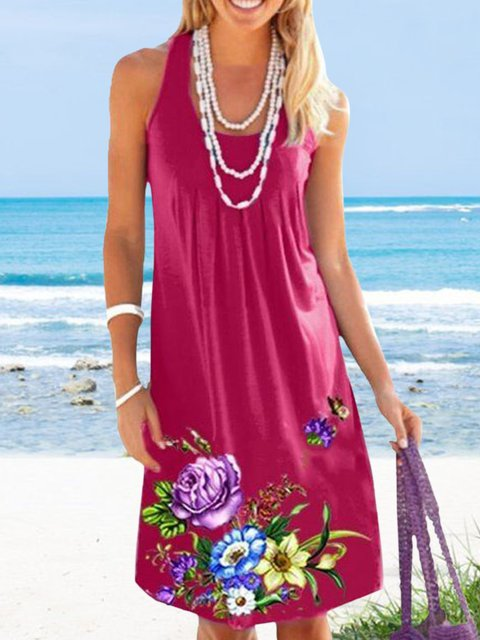 Floral Print Sleeveless Casual Dresses
