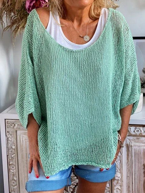Casual Plus Size 3/4 Sleeve Knitting Shirts Tops
