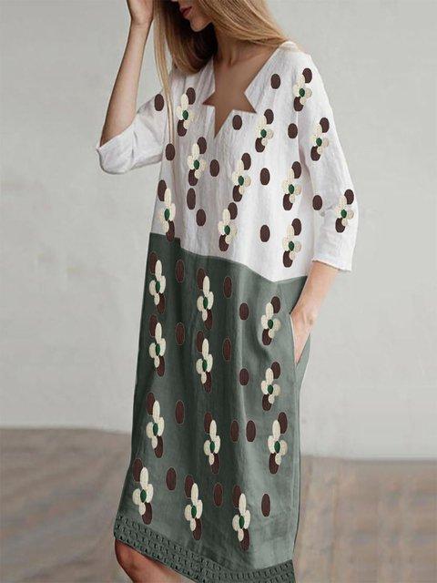 Cotton-Blend Floral Holiday Dresses