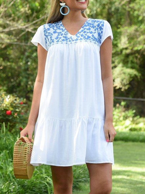 Casual Printed V-neck Mini Dresses