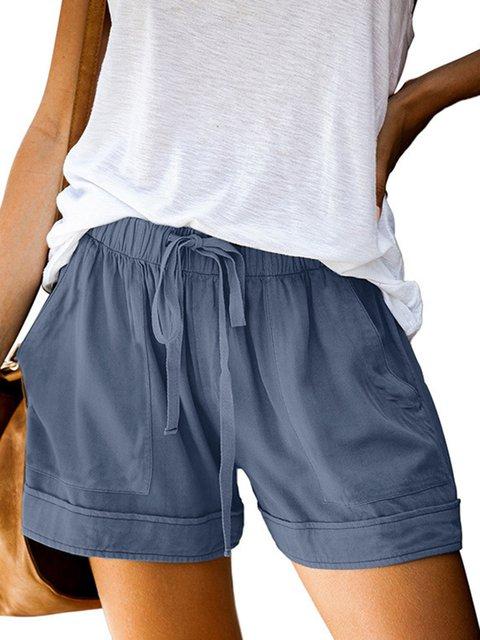 Pockets Plain Casual Pants